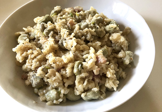 Broad bean and pancetta risotto recipe