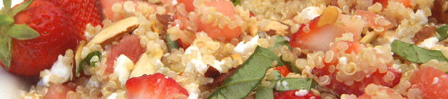 Strawberry, goats cheese and quinoa salad