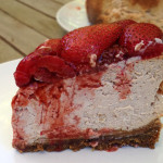 Roasted strawberry ginger ricotta cheesecake slice