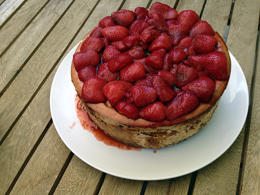 Roasted balsamic strawberry ginger ricotta cheesecake