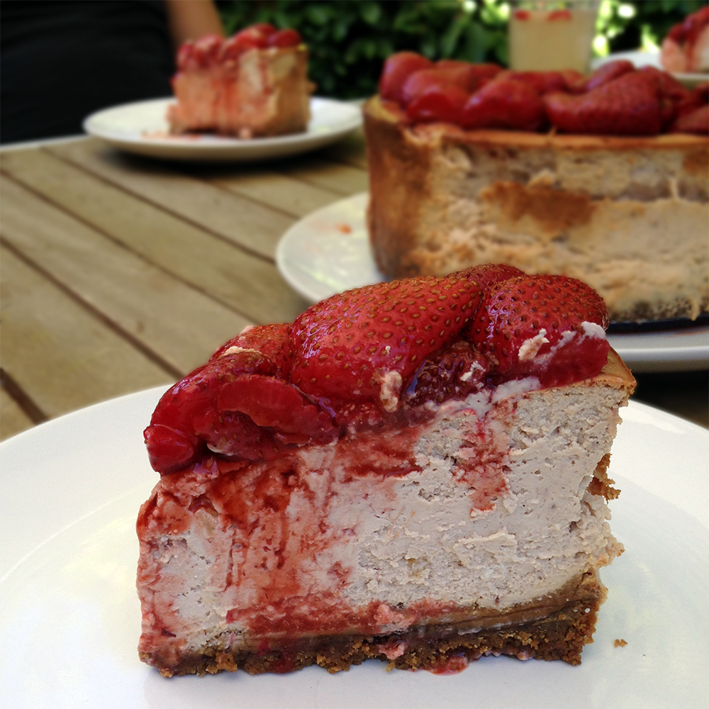 Roasted strawberry ginger ricotta cheesecake