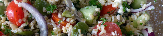 Broad bean salad with pumpkin seeds and feta