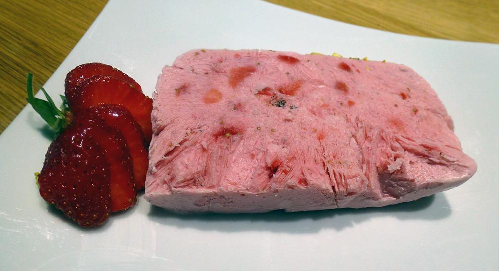 Slice of frozen strawberry parfait