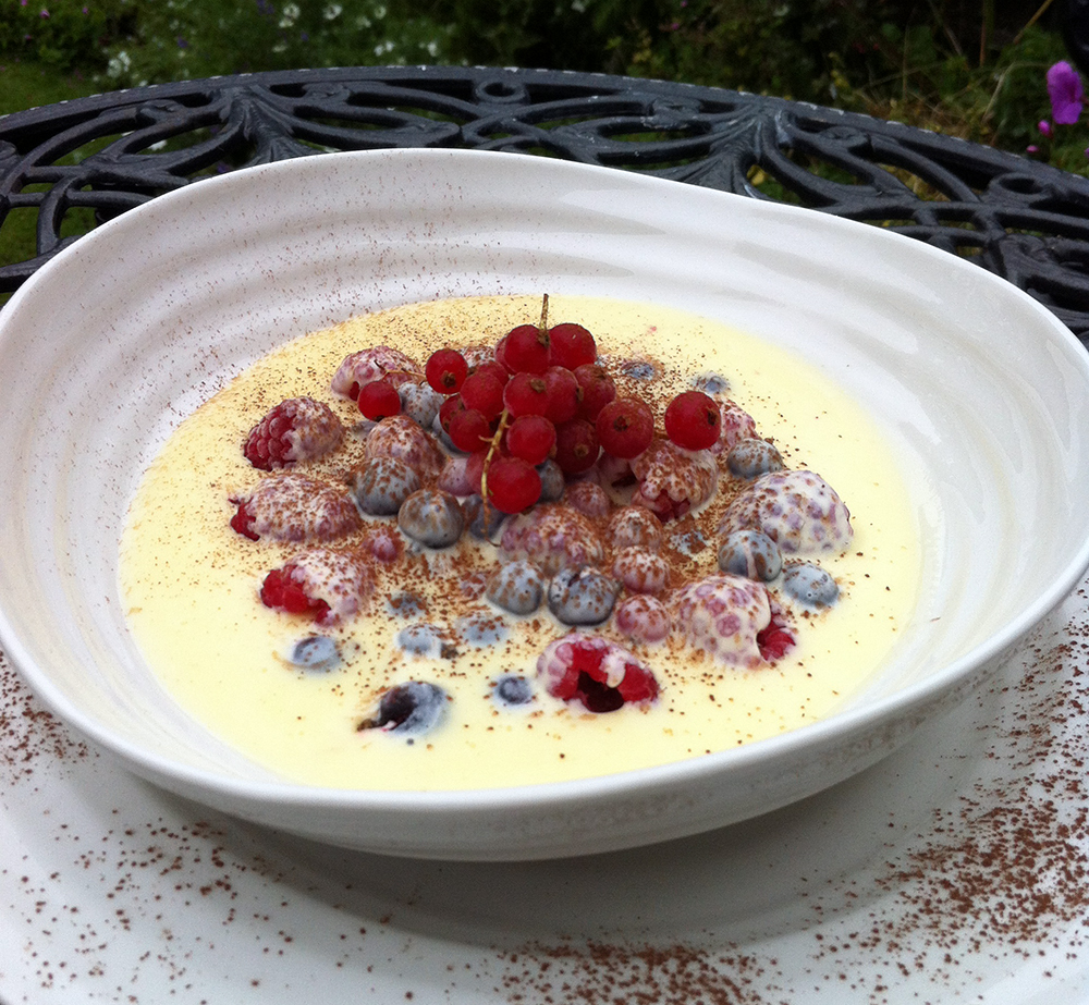 Frozen summer berries with hot white chocolate sauce | McLauchlans of ...