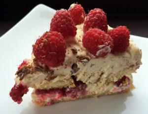 Raspberry tiramisu slice