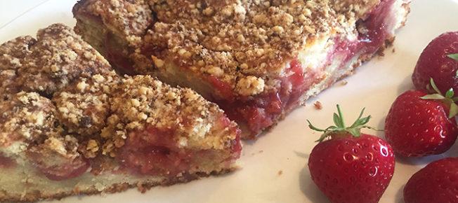 Strawberry sour cream streusel cake sliced