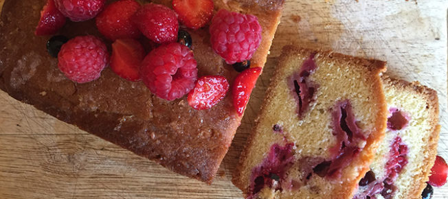 Summer berry lemon drizzle cake
