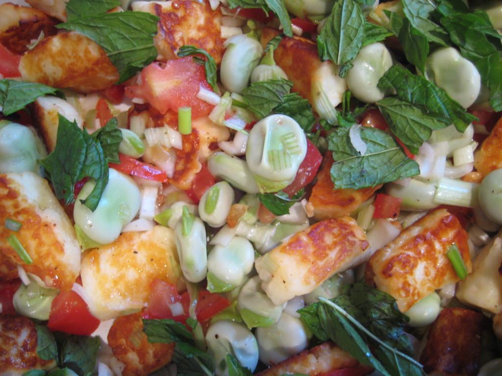 Broad bean halloumi salad