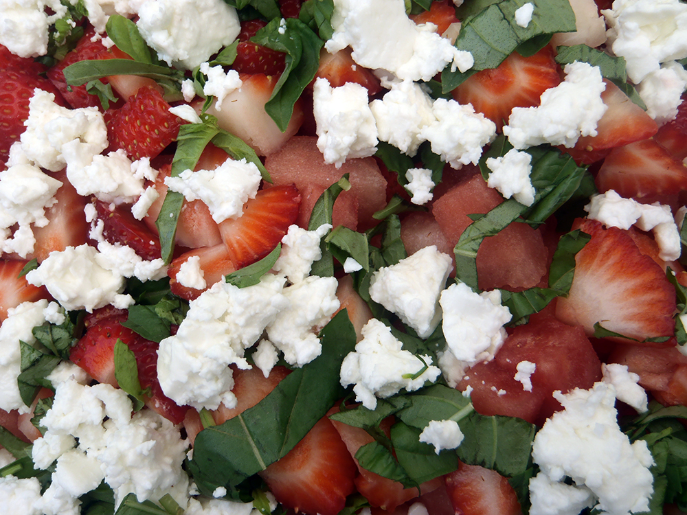 Strawberry, goat cheese and basil salad