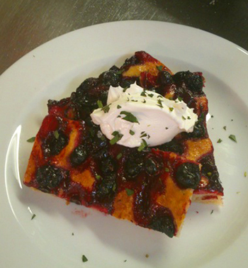 Blackcurrant focaccia from the Sun Inn