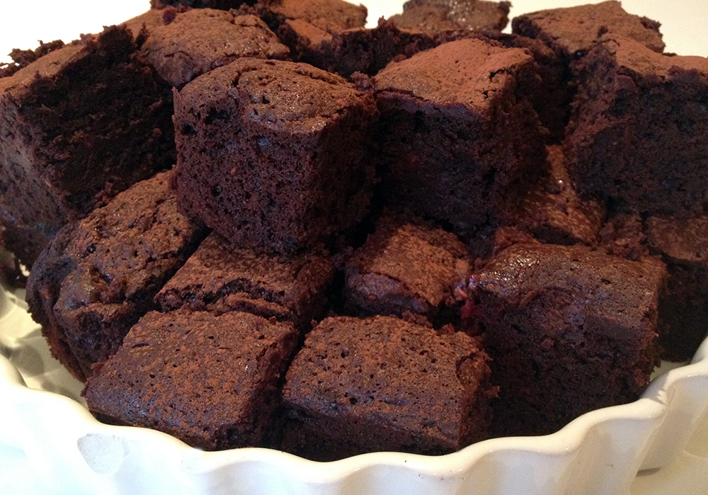 Plate of dark chocolate raspberry brownies