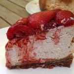 Roasted strawberry ginger ricotta cheesecake slice