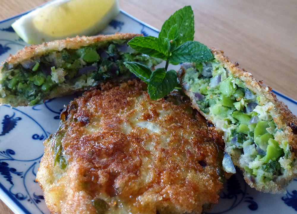Broad bean mint cakes
