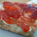 Strawberry and white peach jam